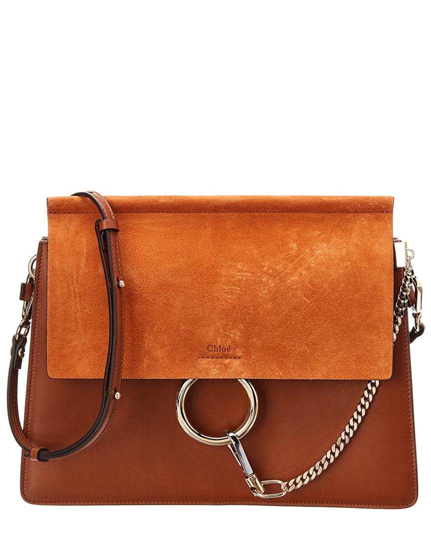 a21fe3e6f6 Lyst - Chloé Faye Medium Leather And Suede Shoulder Bag in Brown ...