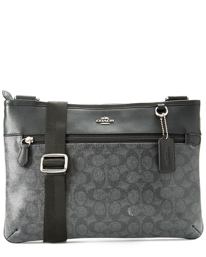 ... where to buy lyst coach spencer signature crossbody bag in black f17bf  04b2c b3324d8329947