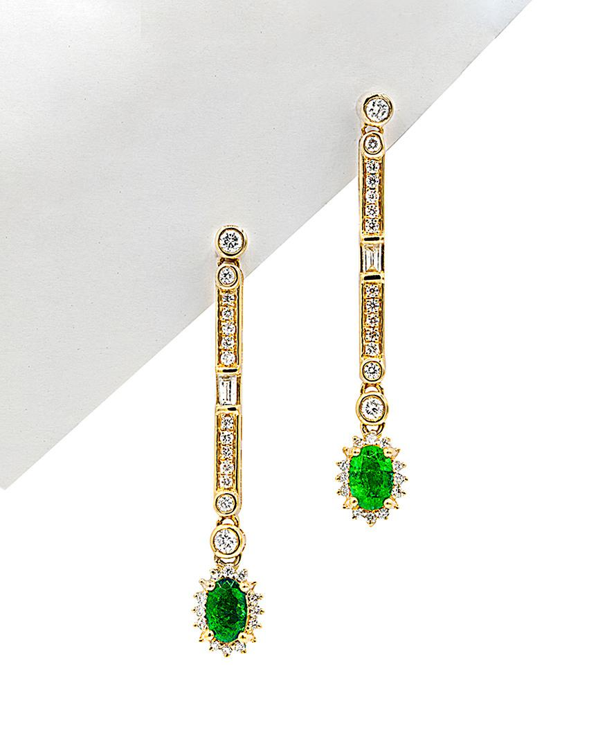 Diana M. Jewels 18k Diamond & Emerald Drop Earrings JN3QUXpAYJ