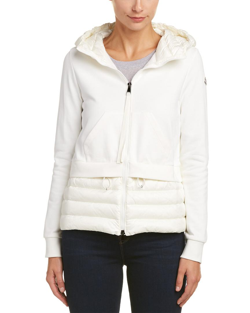 49506f797 Moncler Maglia Down Zip-up Sweatshirt in White - Lyst