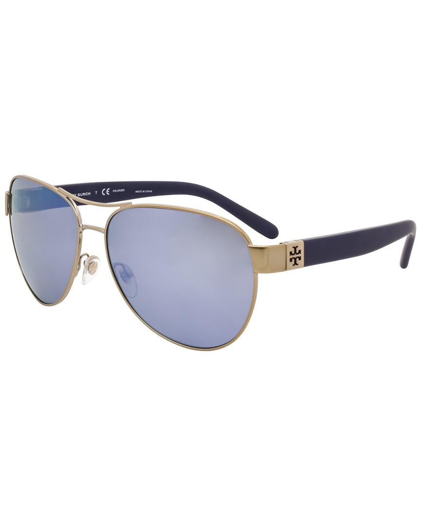 8cdb2261cb Tory Burch Ty 6051 304122 Gold Aviator Sunglasses in Blue - Lyst