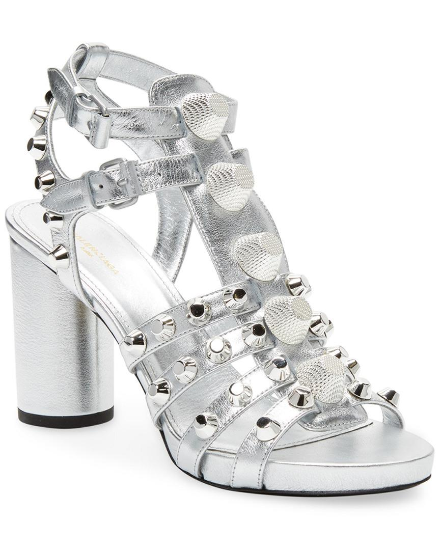 dbdc3c3d7e26 Lyst - Balenciaga Giant Embellished Metallic Leather Sandal in ...