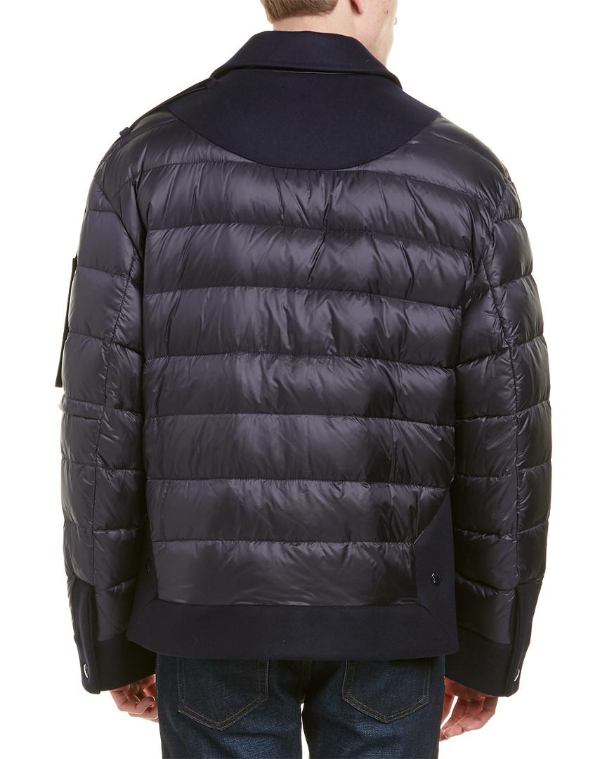 f3e0080f9 Lyst - Moncler Quilted Wool-blend Down Jacket in Blue for Men - Save 3%