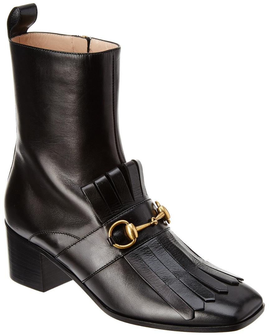 69cd72a3de1 Lyst - Gucci Polly Kiltie Leather Ankle Boot in Black