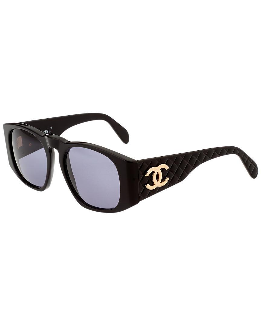 c0a53358462e Lyst - Chanel Black Acrylic Cc Sunglasses in Black
