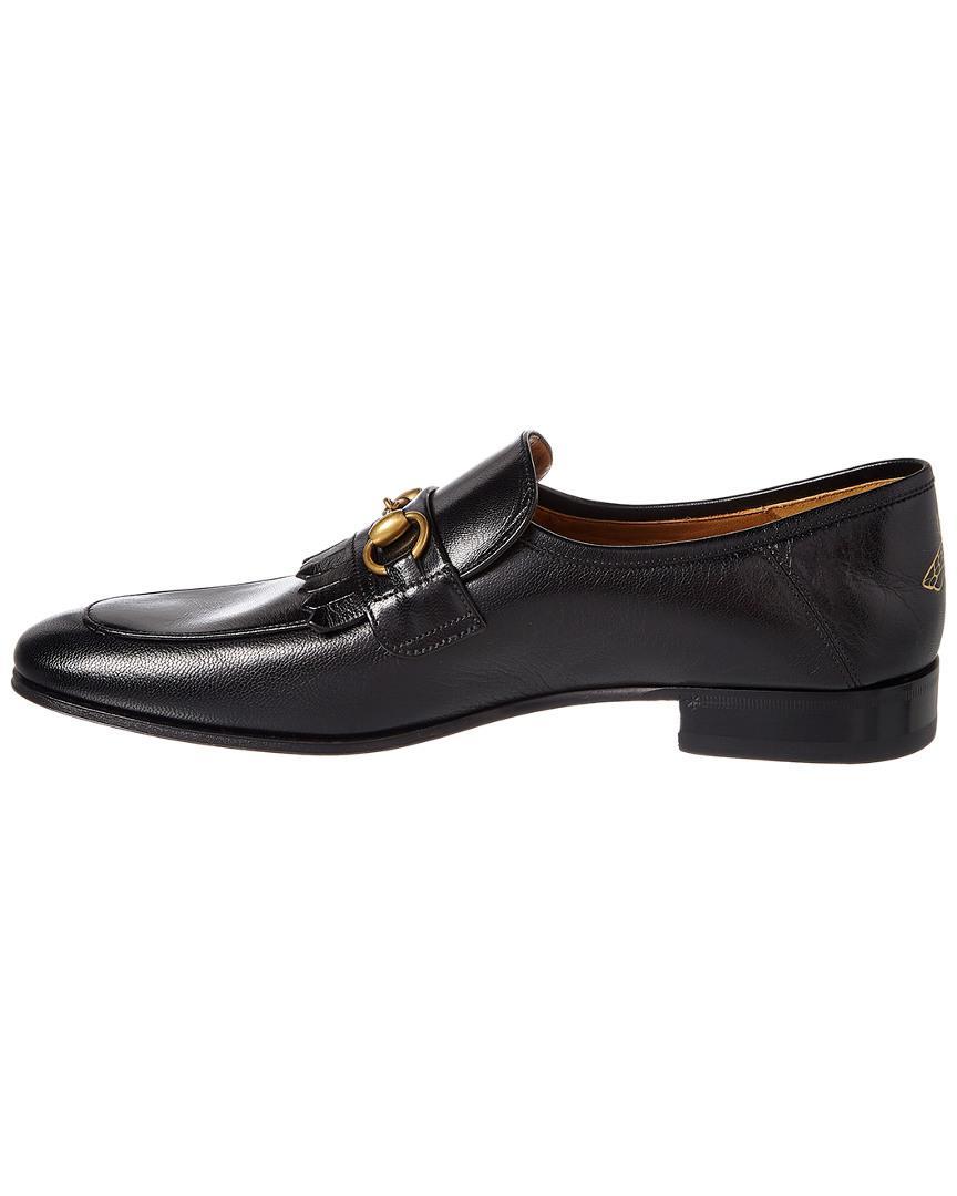 7ffa451621c Lyst - Gucci Leather Fringe Horsebit Loafer in Black for Men - Save 27%