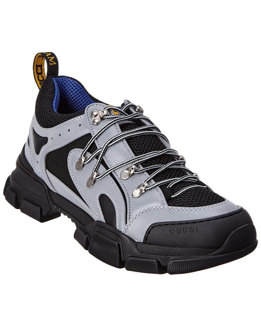 410ac31d507 Lyst - Gucci Men s Journey Flashtrek Sneakers - Silver Black - Size ...