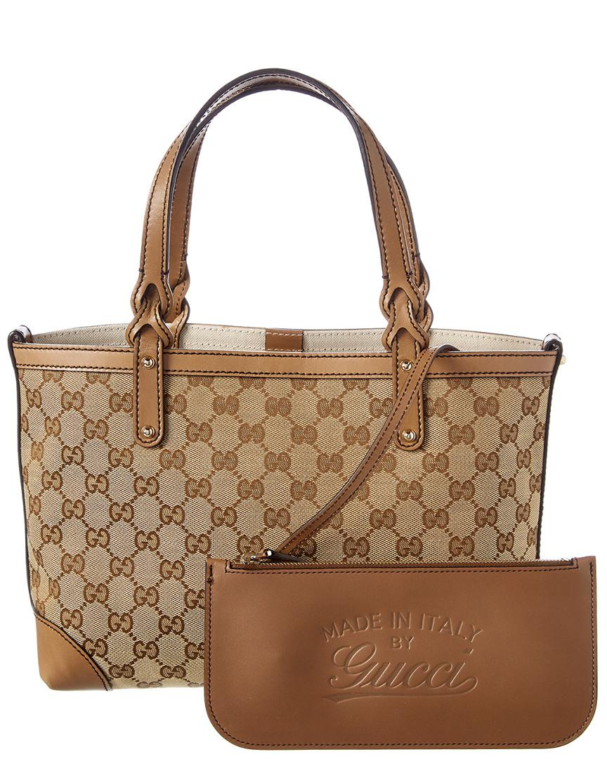 d1a7399f0e6 Gucci Brown GG Canvas   Leather Craft Tote in Brown - Lyst