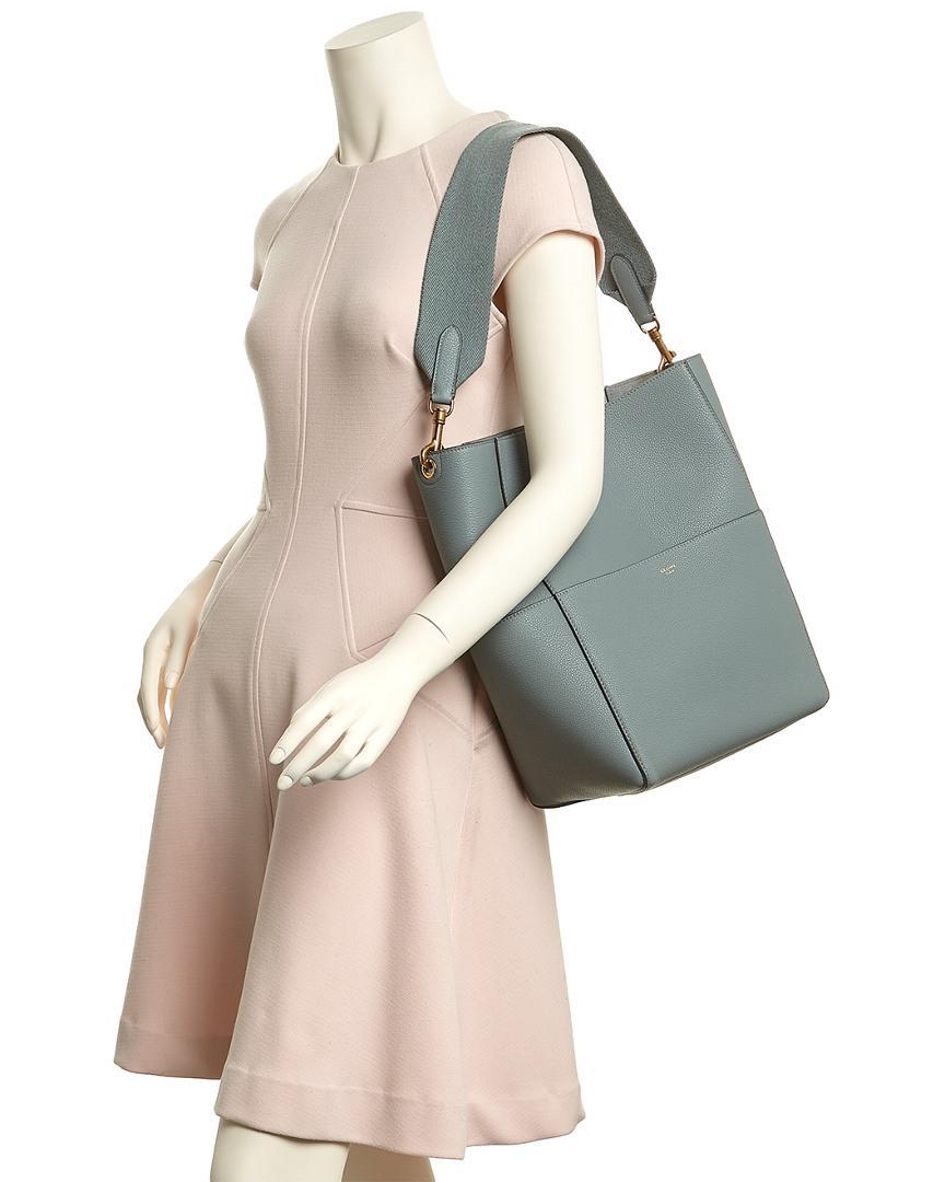 Lyst - Céline Céline Sangle Leather Bucket Bag in Blue 2b91ad5032eb9