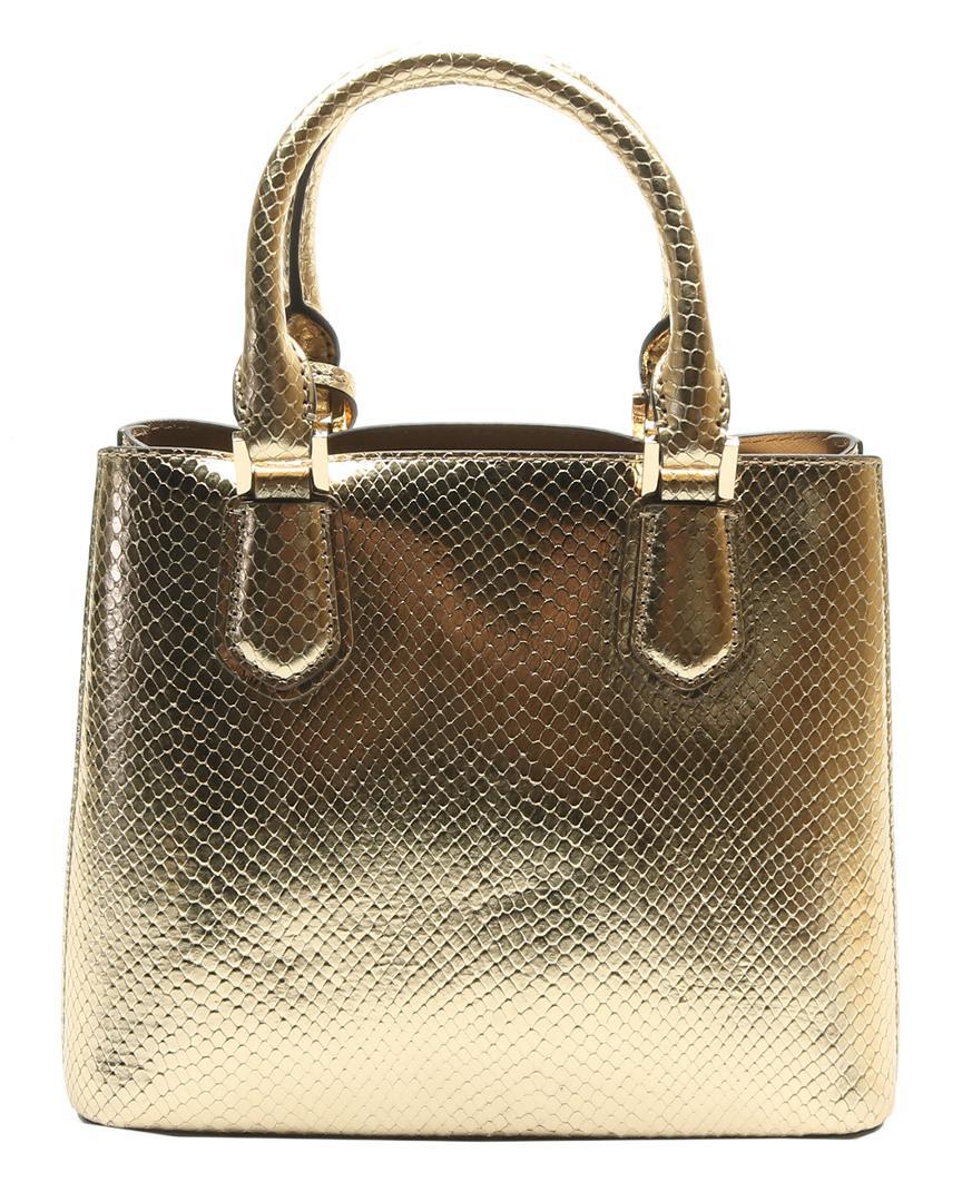 c8385a1c6973 Lyst - Michael Kors Eddle Embossed Leather Messenger in Metallic