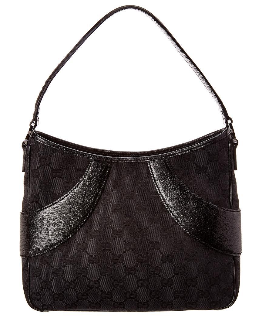 5cc98559f89 Gucci Black GG Canvas   Leather Shoulder Bag in Black - Lyst