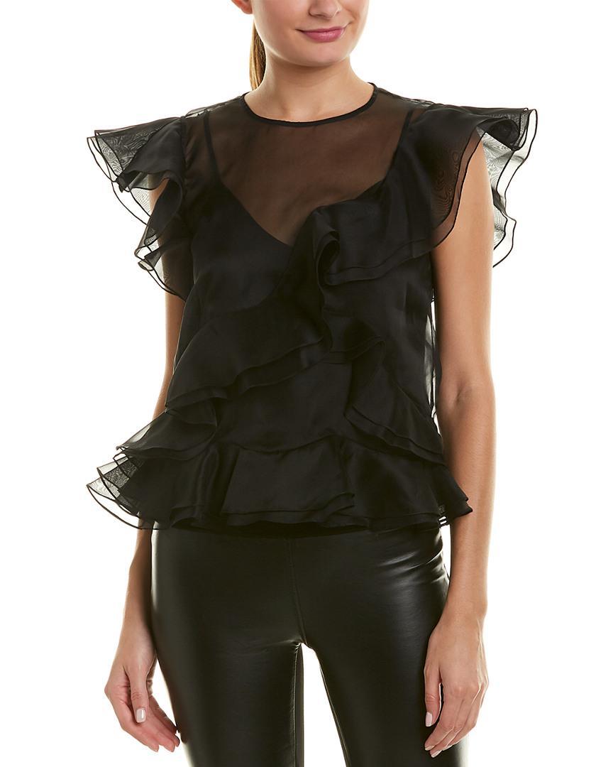 d72c72f77ba22 Lyst - Rebecca Taylor Organza Ruffle Silk Top in Black - Save 13%