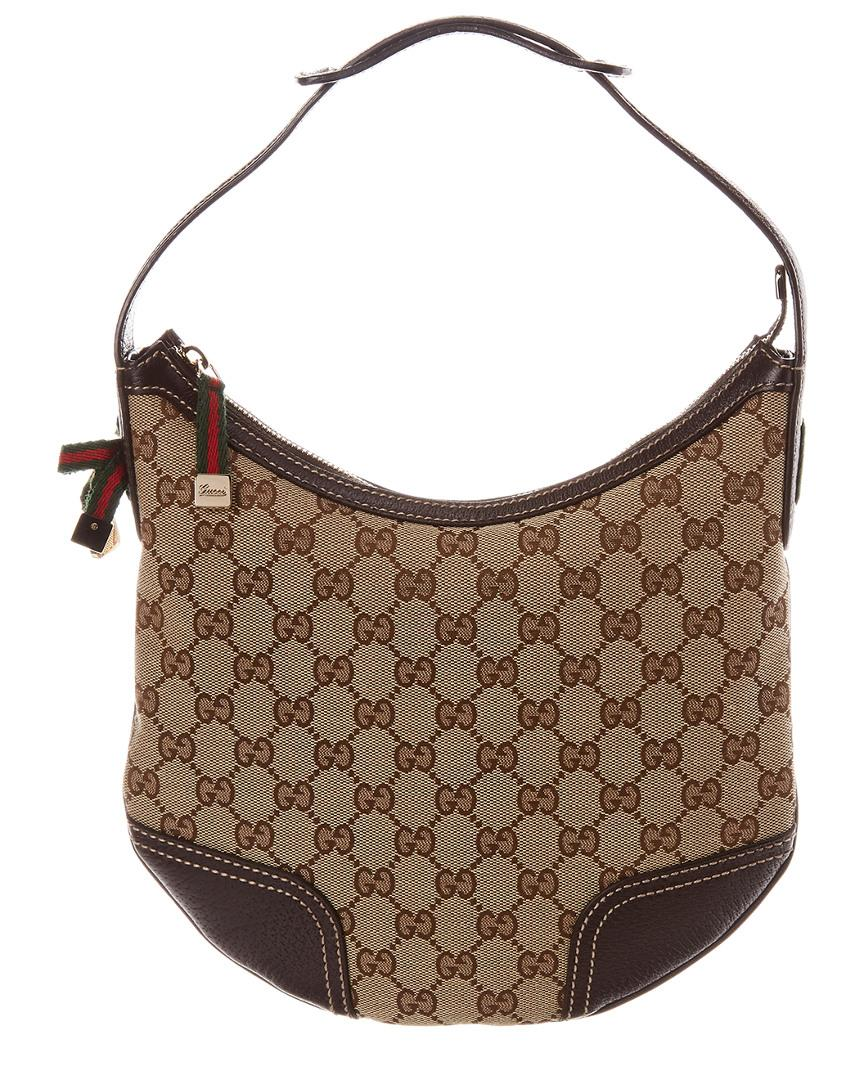 c9cd96558099 Lyst - Gucci Brown GG Canvas & Leather Princy Hobo Bag in Brown