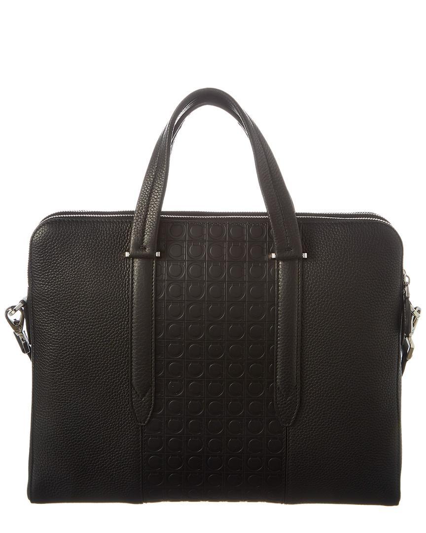 Lyst - Ferragamo Gancini Leather Messenger Bag in Black for Men 65c4dbfe3cdbd