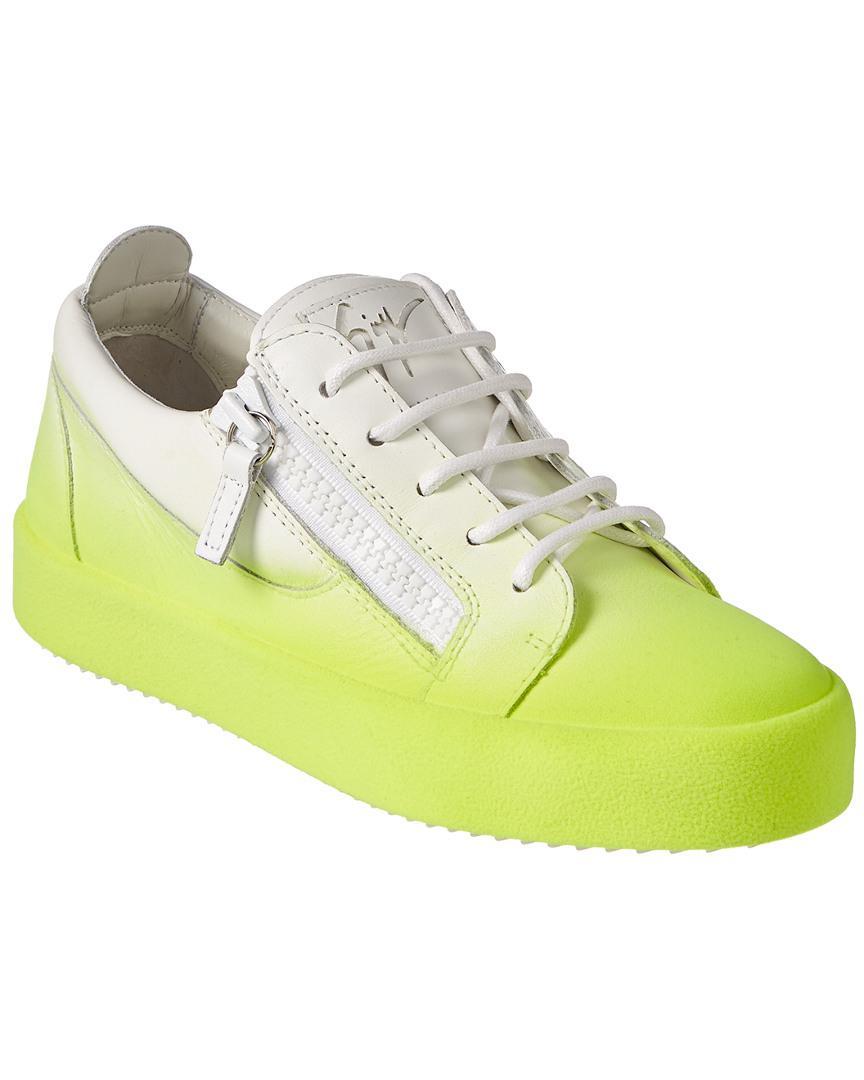 30eb72214fa72 Giuseppe Zanotti Flocked Leather Low-top Sneaker in Yellow - Lyst