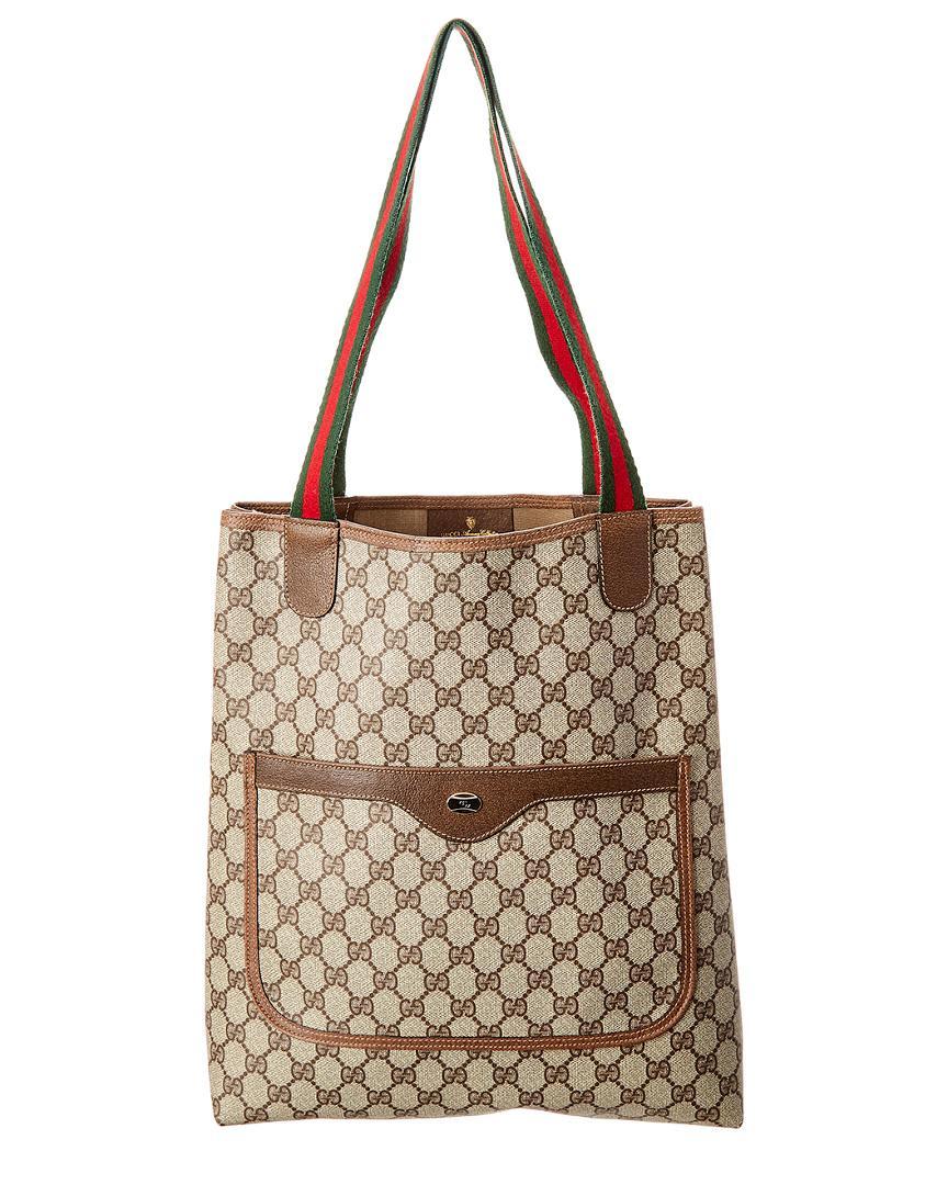 5e6ee1049dfd Gucci GG Supreme Canvas & Leather Tote in Brown - Lyst