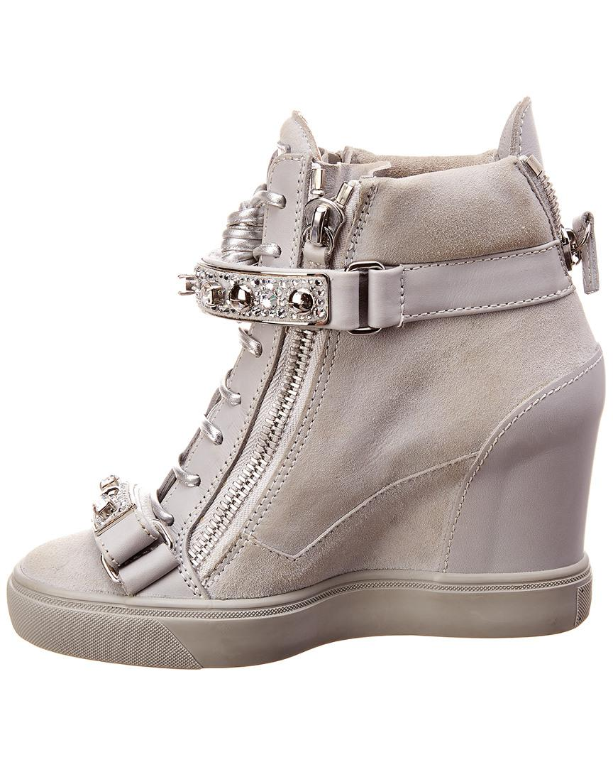 26cefb6833b0 Lyst - Giuseppe Zanotti Leather   Suede Wedge Sneaker in Gray