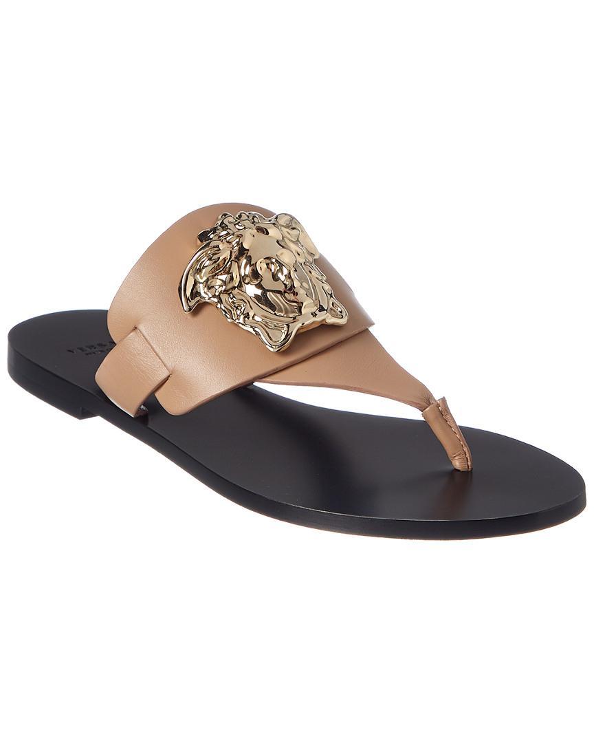 ce05e398194b1 Lyst - Versace Medusa Palazzo Leather Thong Sandal