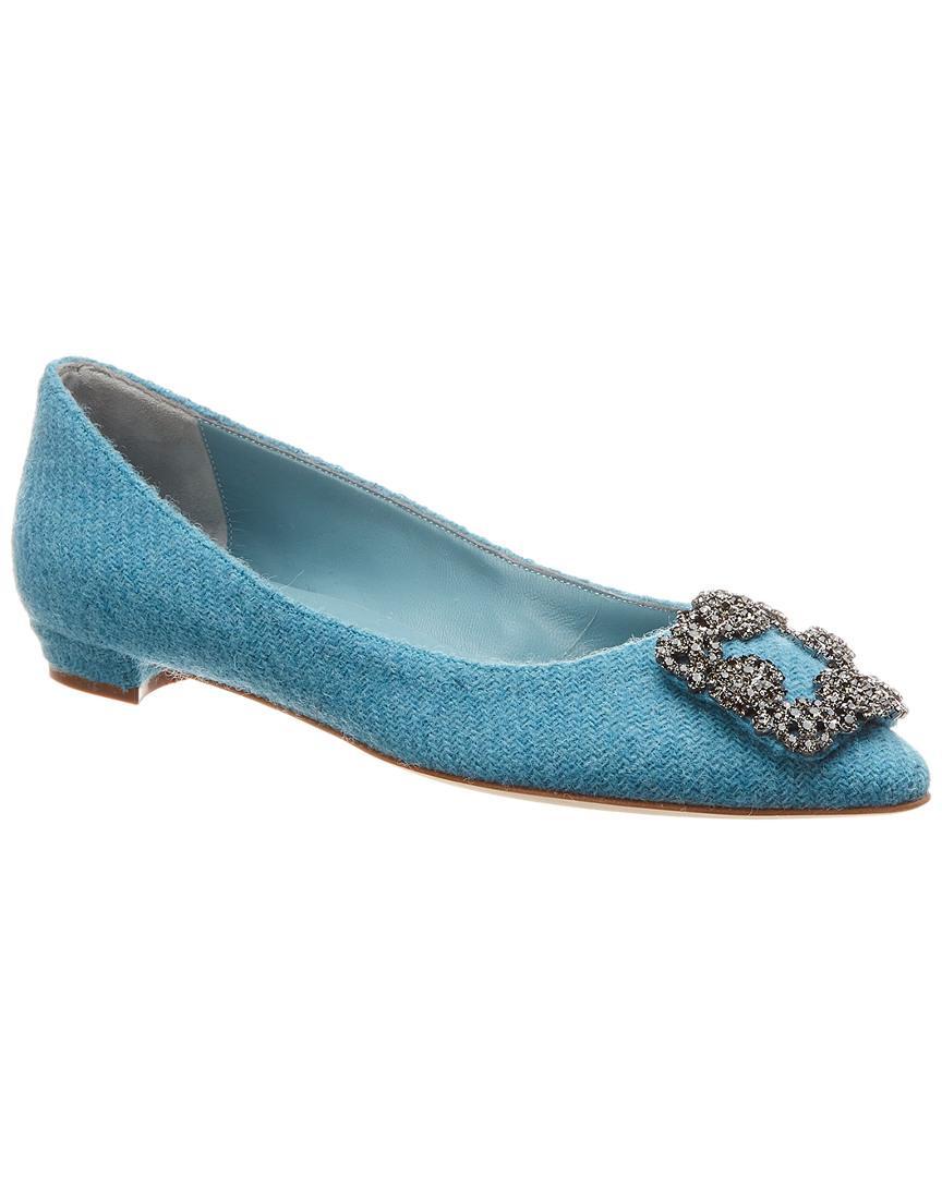 bad58cb94f0 Lyst - Manolo Blahnik Hangisi Tweed Ballerina Flat in Blue