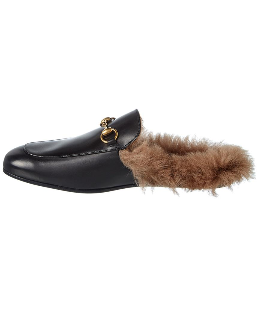 8ad351b5d72 Gucci Men s Princetown Fur-lined Calf Leather Mule Slipper in Black for Men  - Save 21% - Lyst