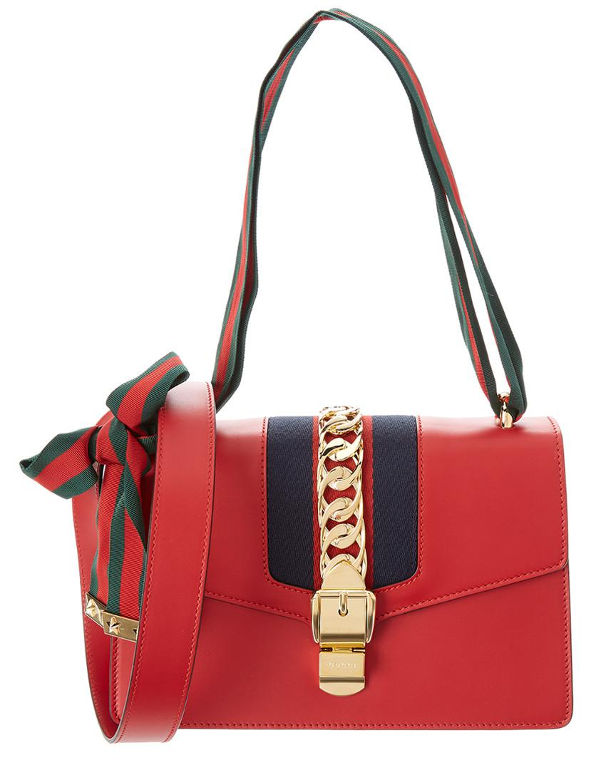 f5cda213913 Lyst - Gucci Small Sylvie Leather Satchel in Red - Save 2%