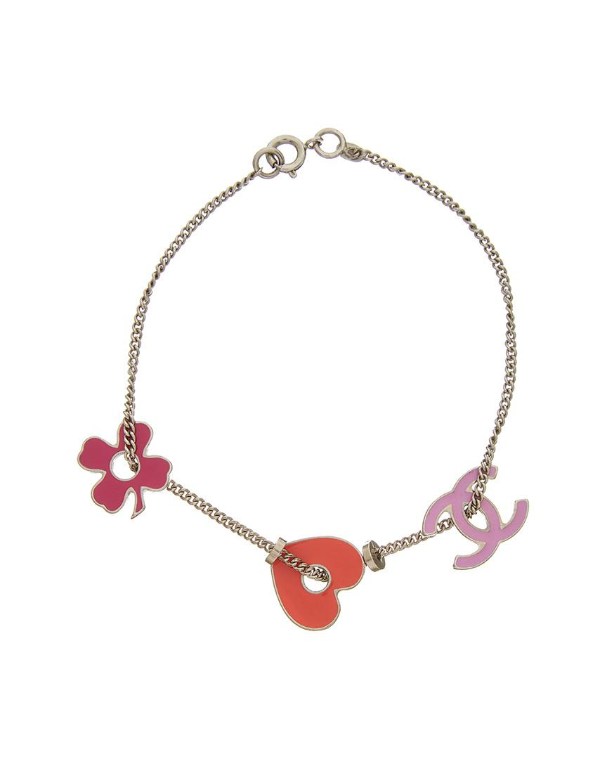 Chanel Women S Metallic Silver Tone Charm Bracelet