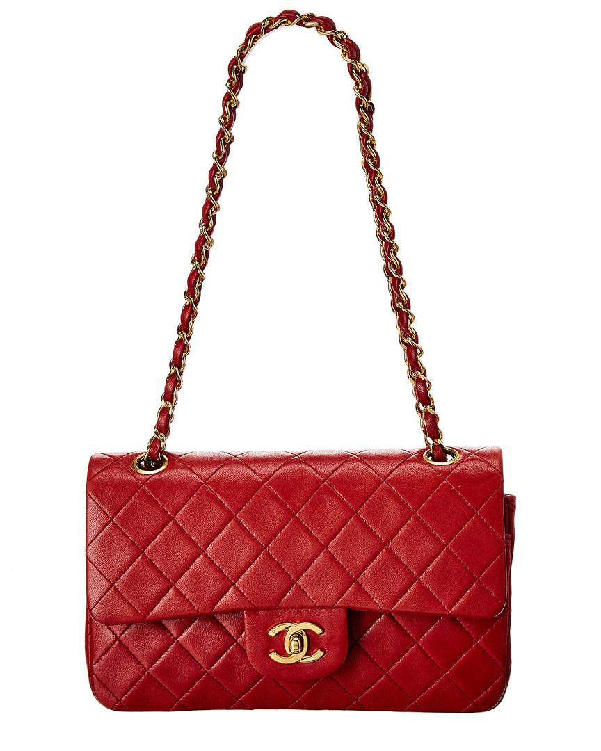 31bdcec6458159 Lyst - Chanel Red Quilted Lambskin Leather Classic Small Double Flap ...