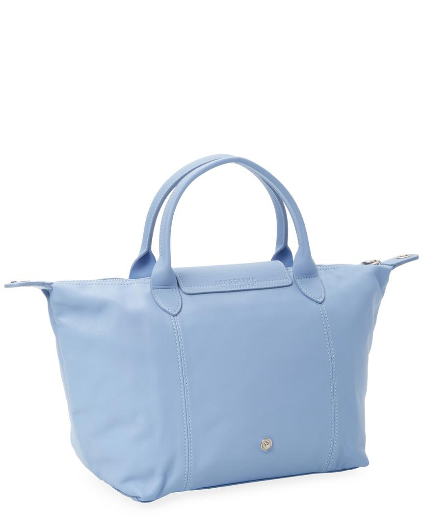 1a07c1015275 Lyst - Longchamp Le Pliage Cuir Small Leather Top Handle Tote in Blue -  Save 20%