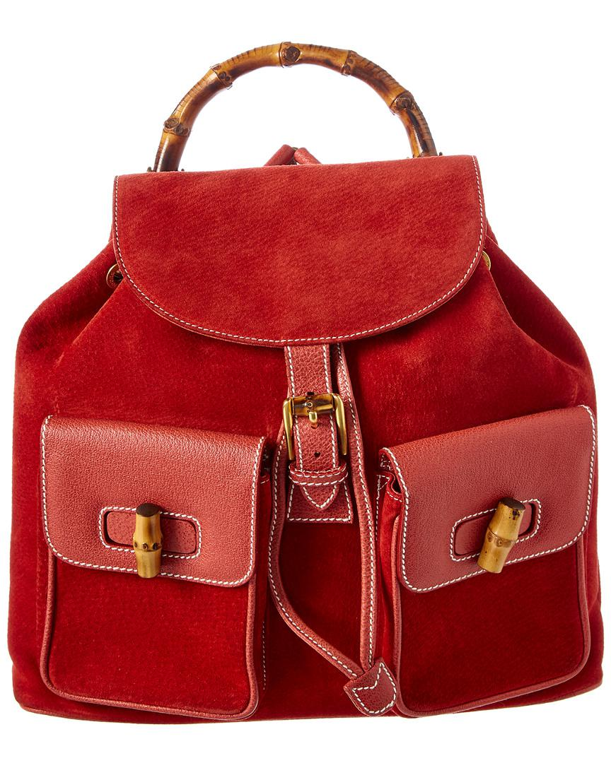 c14024bc796 Gucci Red Leather   Suede Large Bamboo Backpack in Red - Lyst