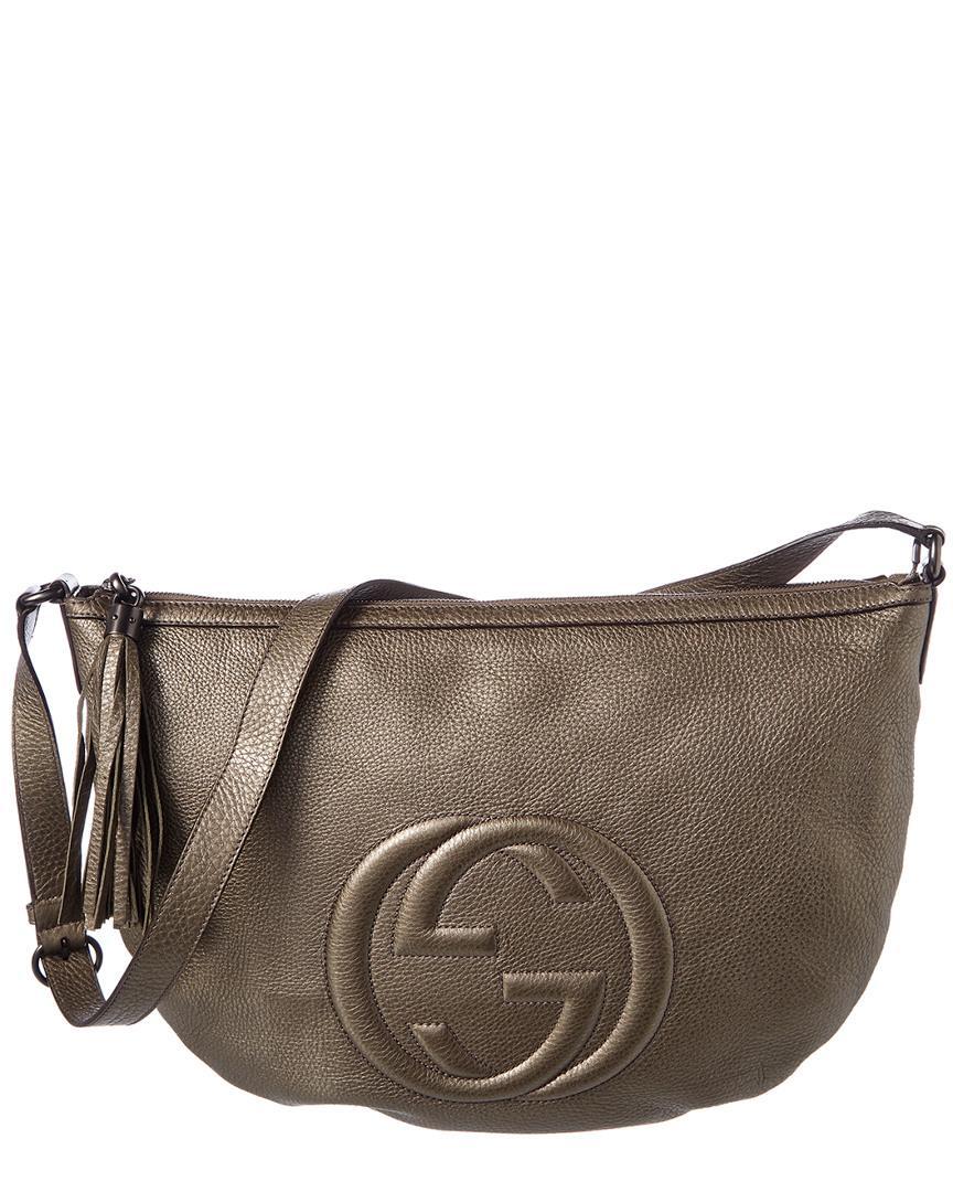 08ef9f521214 Lyst - Gucci Grey Metallic Leather Soho Shoulder Bag in Gray
