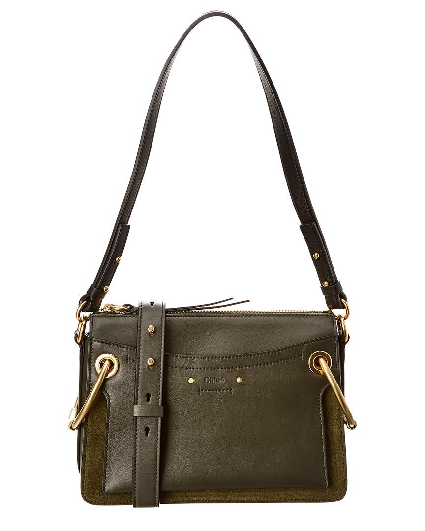 853904a12f2c Lyst - Chloé Roy Small Leather   Suede Shoulder Bag in Green