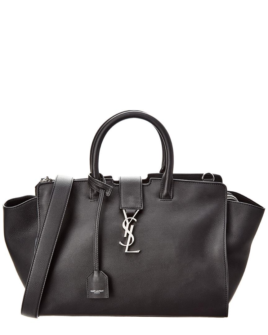 ba9e0857a86 Lyst - Saint Laurent Baby Downtown Cabas Leather Tote in Black ...