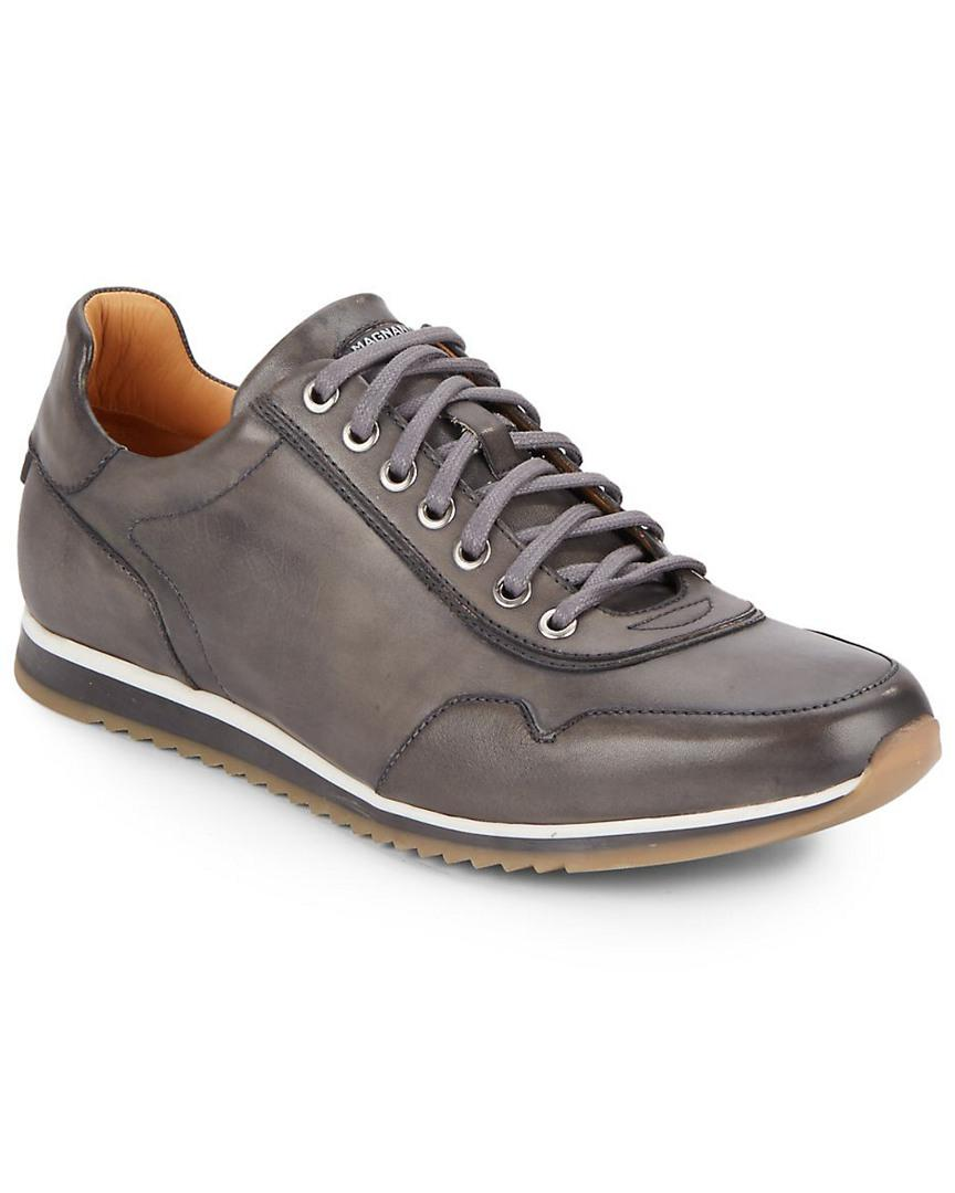 c85df8fe19e4ca Saks Fifth Avenue By Magnanni Leather Sneaker in Gray for Men - Save ...