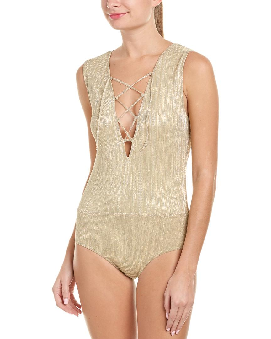 29838679ed8c Anine Bing Lace Up Bodysuit in Metallic - Lyst