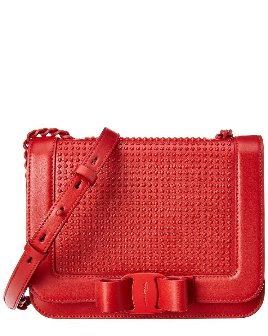 5e67af7d6b1a Ferragamo Vara Bow Leather Crossbody in Red - Save 1% - Lyst