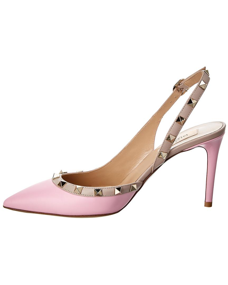 3d409cdf7fea Lyst - Valentino Rockstud 85 Leather Slingback Pump in Pink - Save  8.108108108108112%