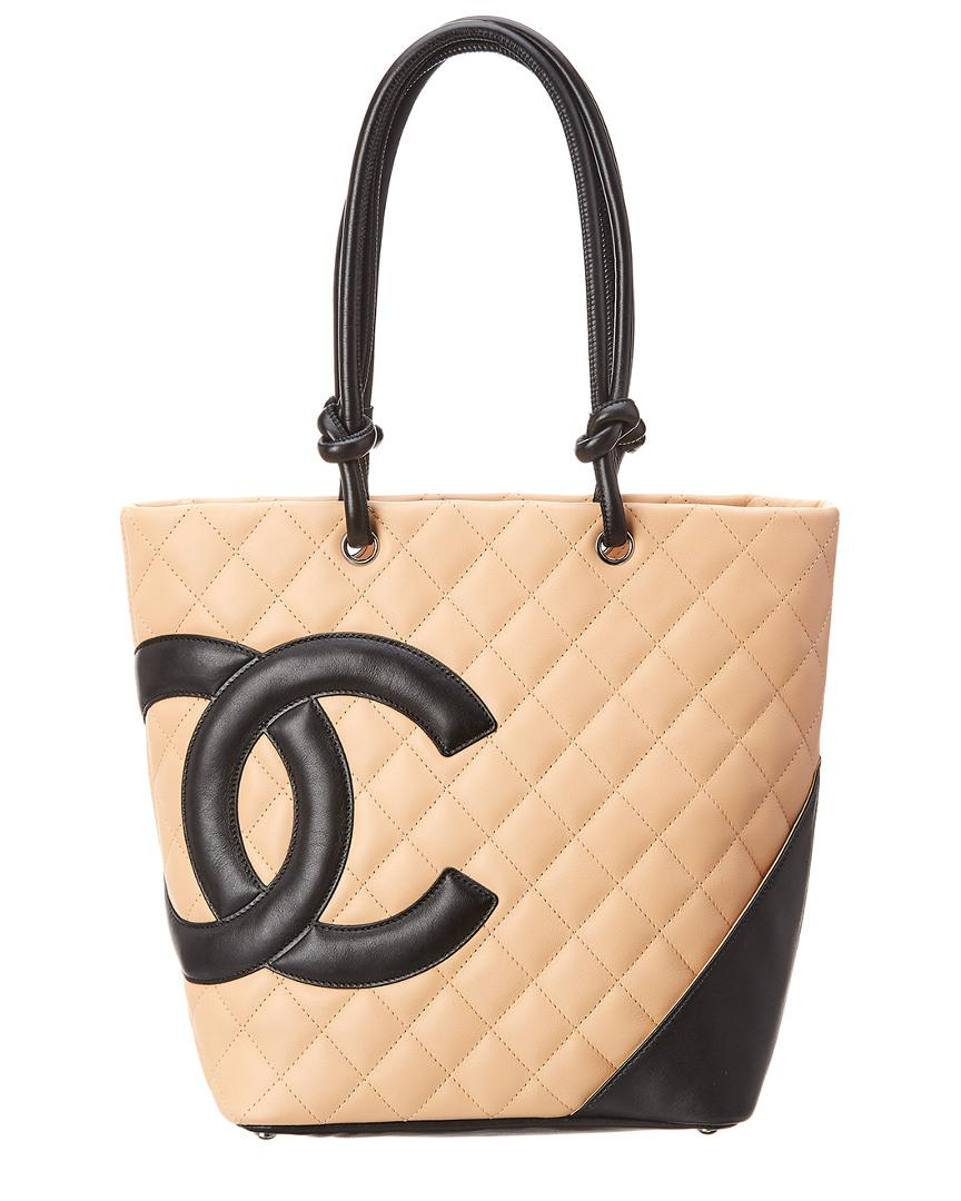 fff89c05a07a Chanel. Women's Natural Beige Quilted Lambskin Leather Medium Cambon Tote