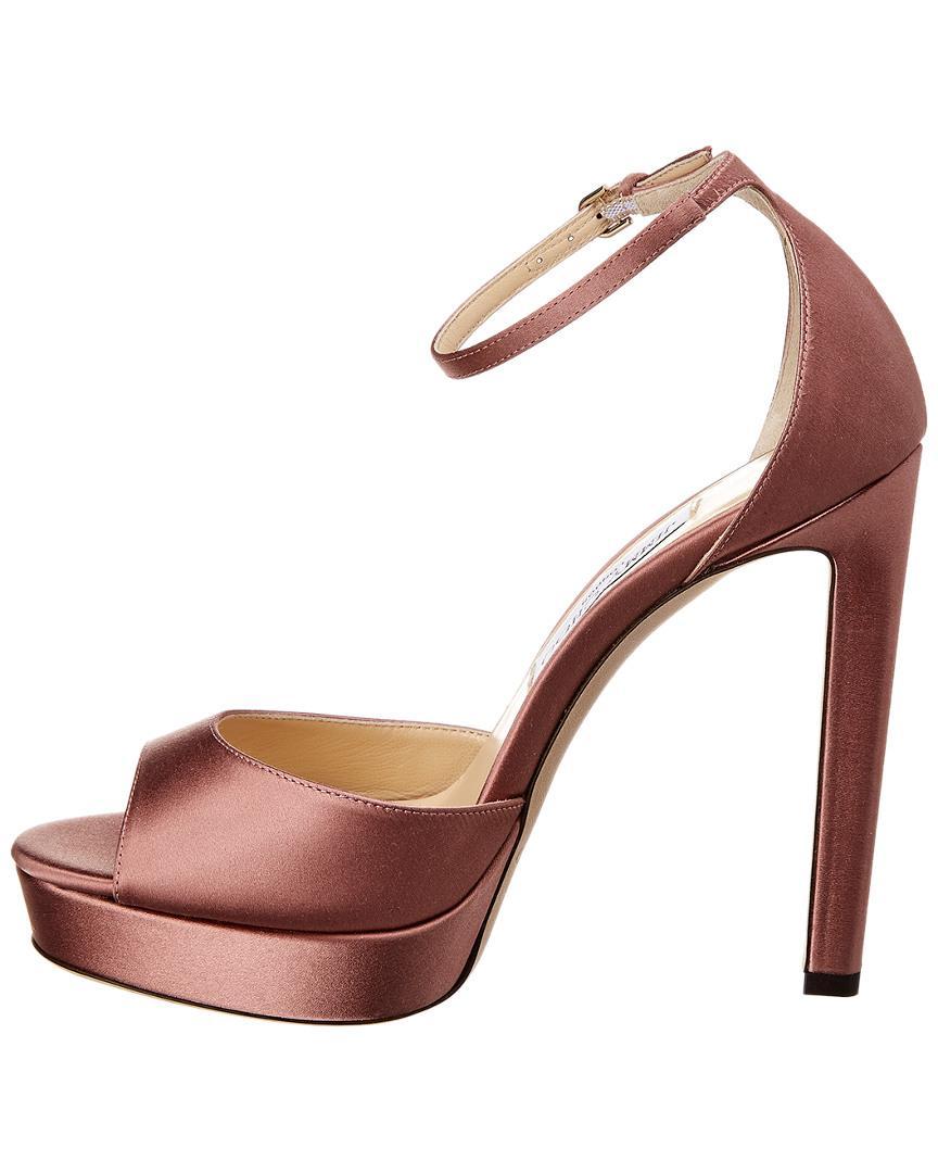 f9f64bae268 Lyst - Jimmy Choo Pattie 130 Satin Sandal in Pink