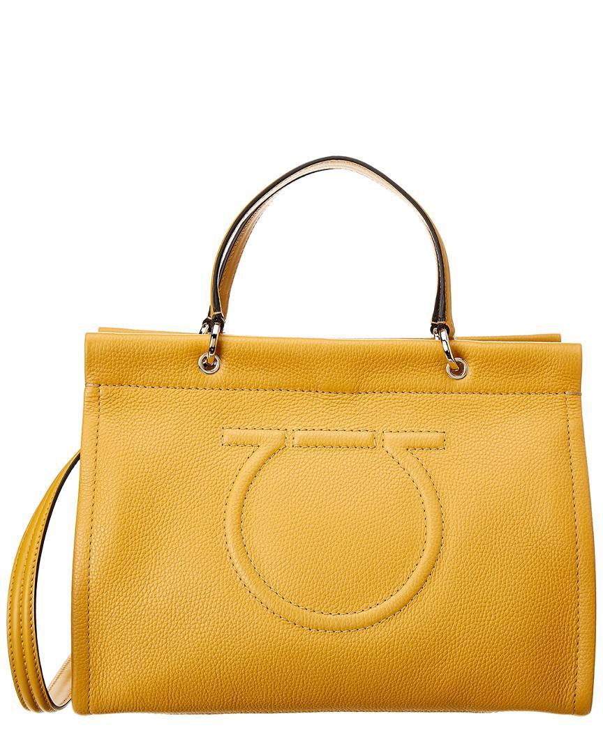 0936c2568318 Ferragamo Meera Medium Leather Tote in Yellow - Lyst