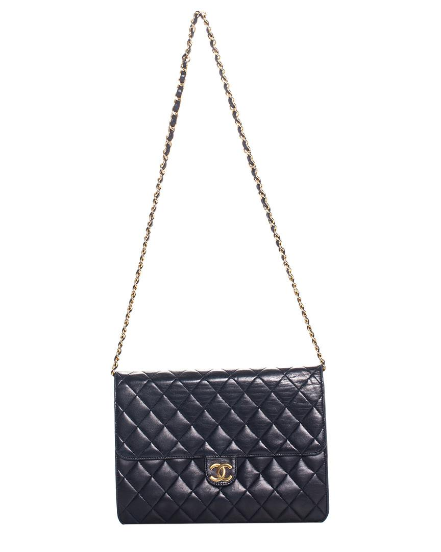 e225b0eafe6c Lyst - Chanel Navy Quilted Lambskin Leather Single Flap Bag