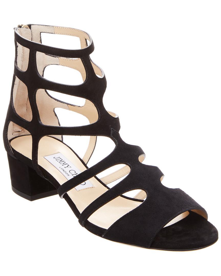 sale retailer d41a5 a89eb jimmy-choo-Black-Ren-35-Suede-Cage-Sandal.jpeg