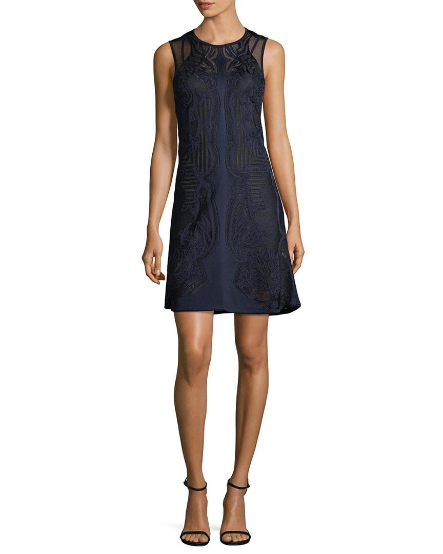 Roberto Cavalli Sheer Panel A-line Dress in Blue - Save ... 226fc880c