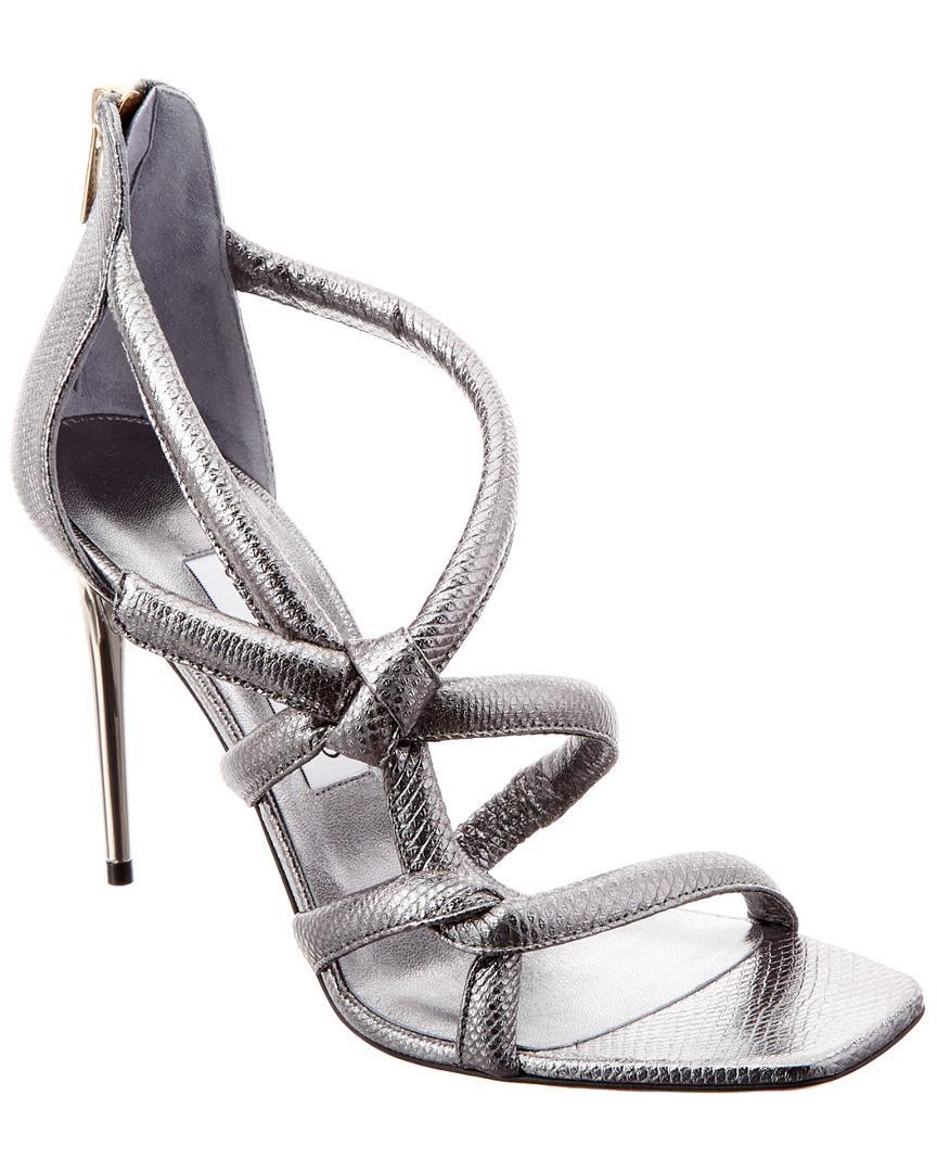 b045a72ca9b7 Lyst - Jimmy Choo Knot 100 Metallic Leather Sandal in Metallic ...