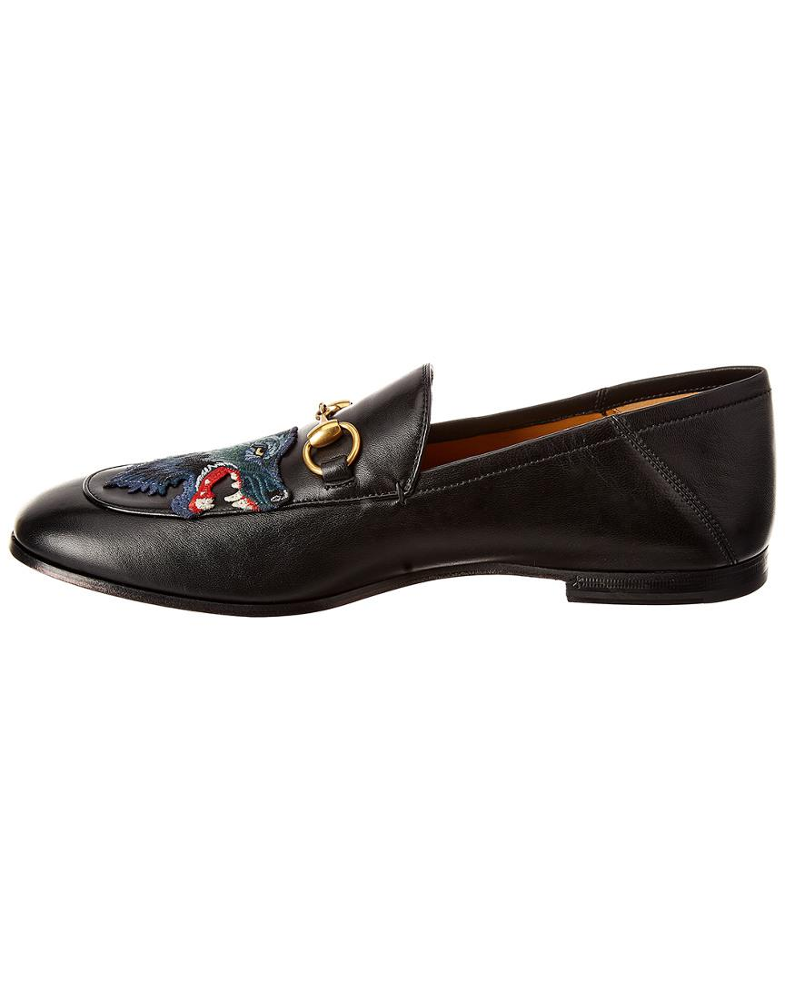 f00d3d02fba Gucci Brixton Angry Wolf Applique Leather Loafer in Black for Men - Save  17% - Lyst