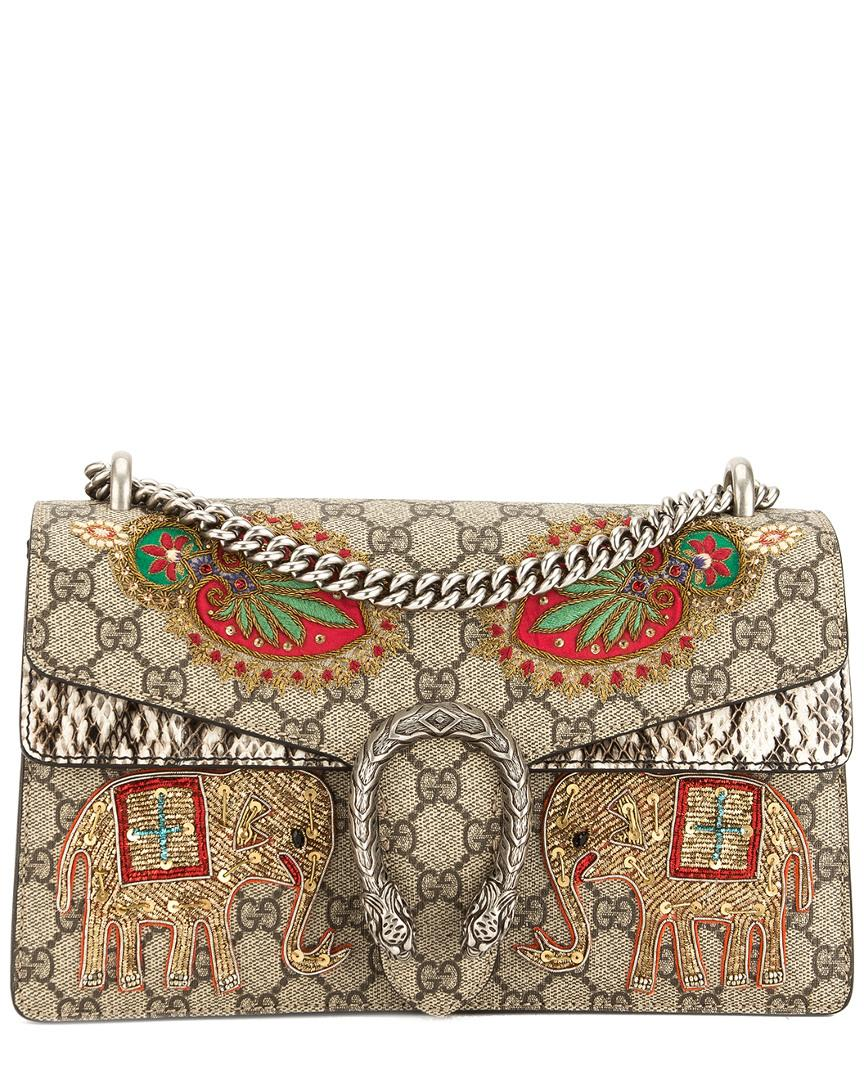 880372cbe7a Gucci. Women s Natural Limited Edition Beige GG Supreme Canvas   Snakeskin  Leather Dionysus Bag