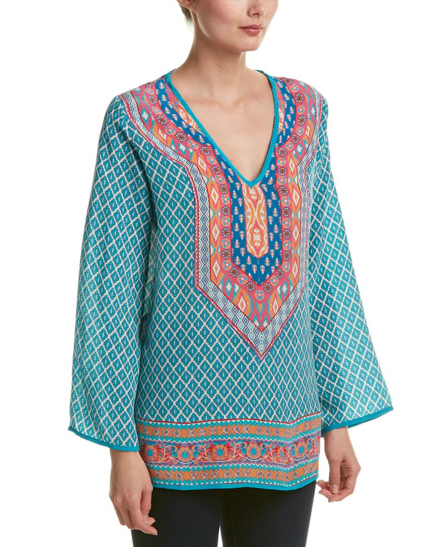 58b61fd046a7f Tolani Mona Silk Top in Blue - Lyst