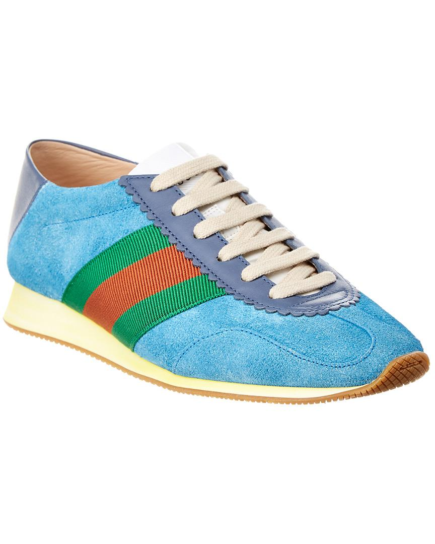 3bf20fef11a Gucci Web Suede   Leather Sneaker in Blue - Lyst