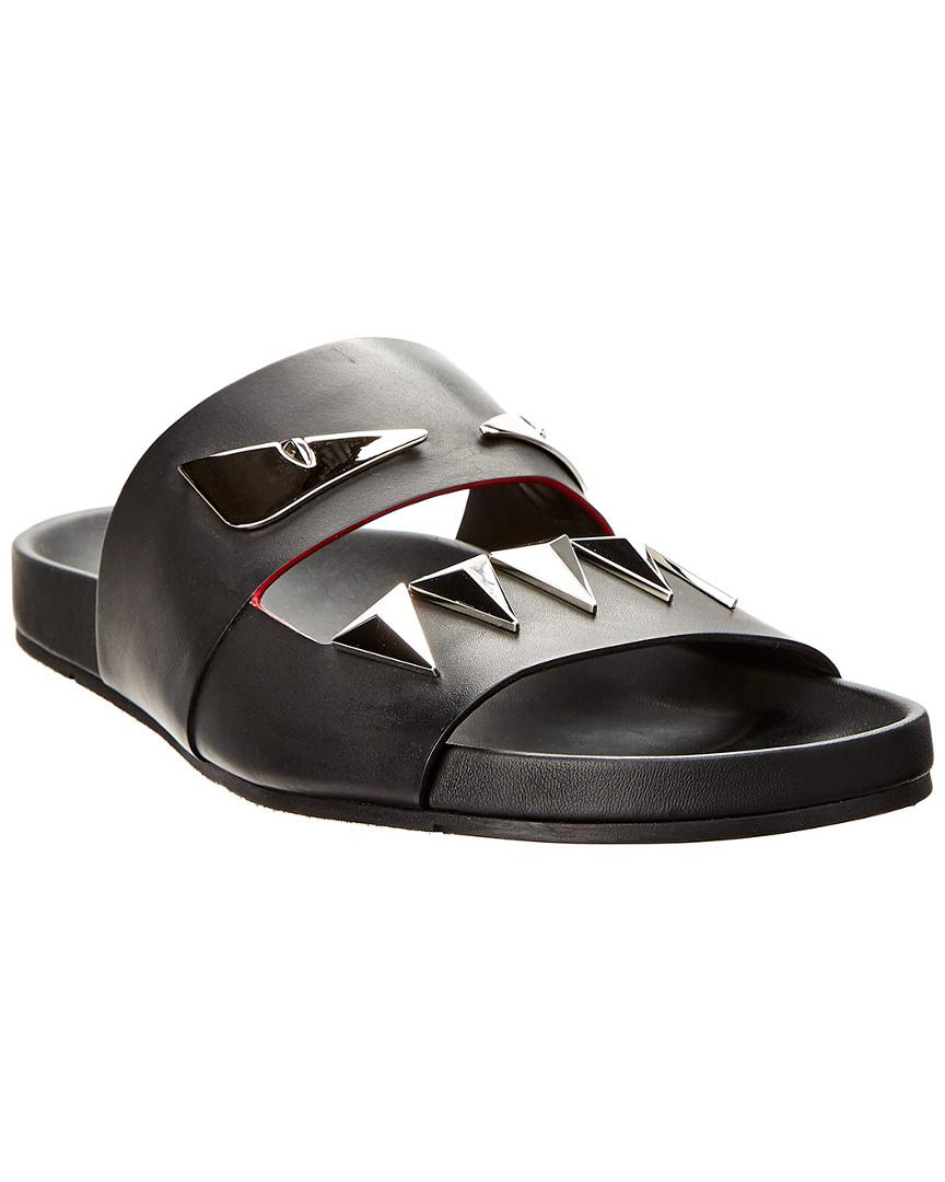 3a3de3e322ba Lyst - Fendi Leather Slide Sandal in Black for Men