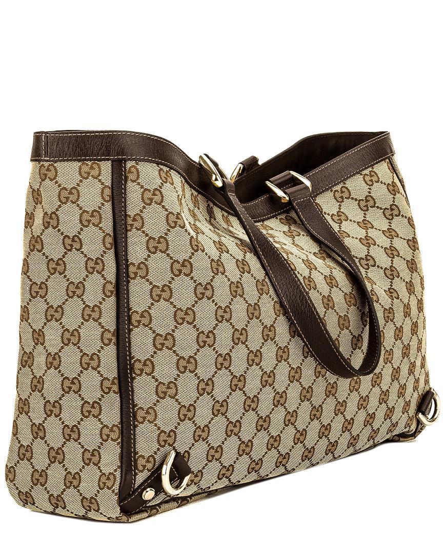 a91c4a67e Gucci Brown Leather & Gg Supreme Canvas Abbey D-ring Tote in Brown ...
