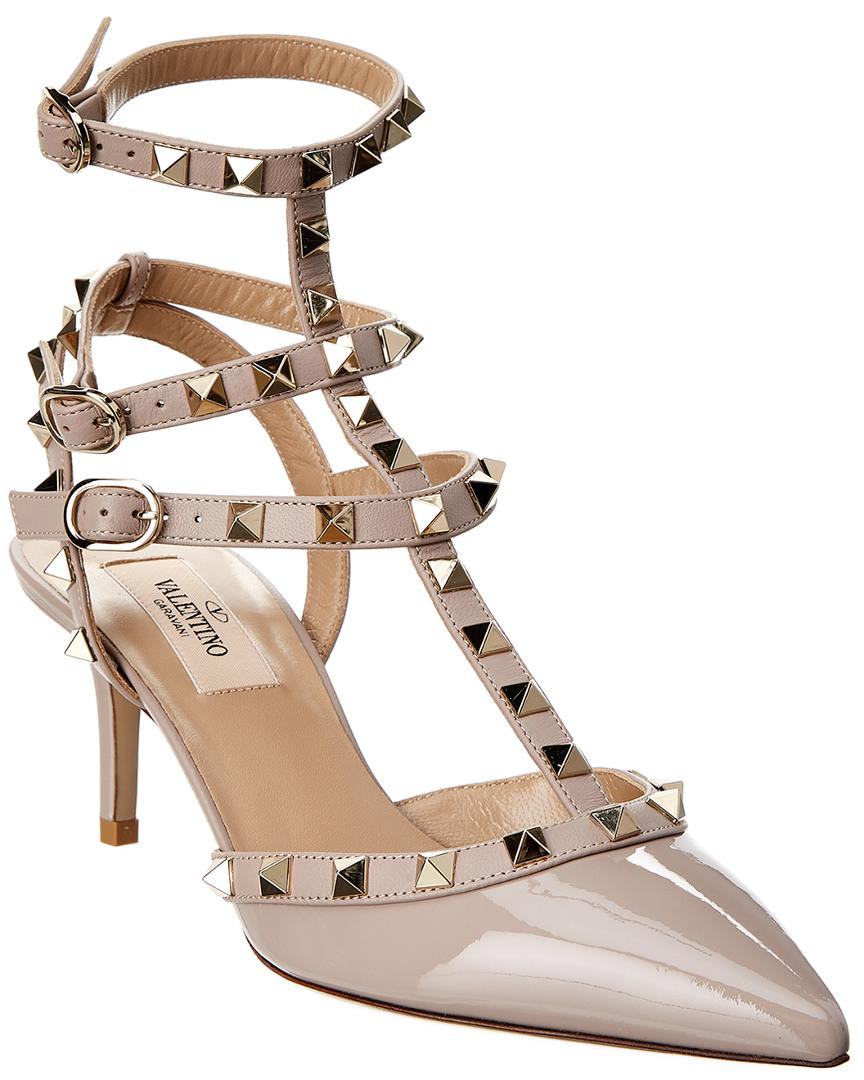 df95665115d1 Lyst - Valentino Rockstud Patent Ankle Strap Pump in Pink